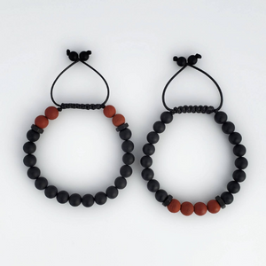 Onyx with matte Red Jasper men beaded bracelet - BurzanDesign