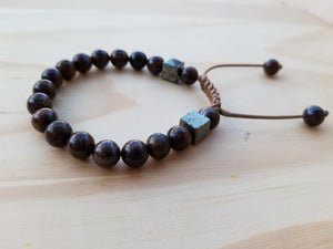 Bronzite Jasper and Pyrite natural stone men bracelet - BurzanDesign
