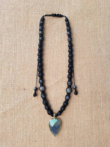 Labradorite macrame necklace with Lava stone - BurzanDesign