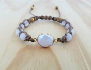 Fresh water pearl 24k gold with Moonstone & Hematite