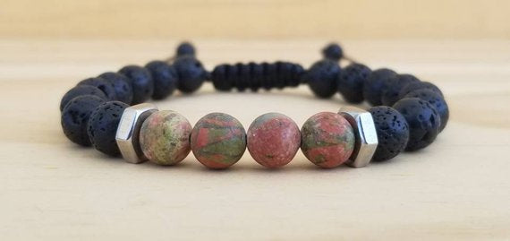 Volcanic Lava with Unakite beaded men bracelet - BurzanDesign