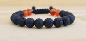 Volcanic Lava with Carnelian men bracelet - BurzanDesign