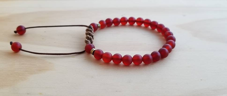 Red Agate beaded bracelet - BurzanDesign