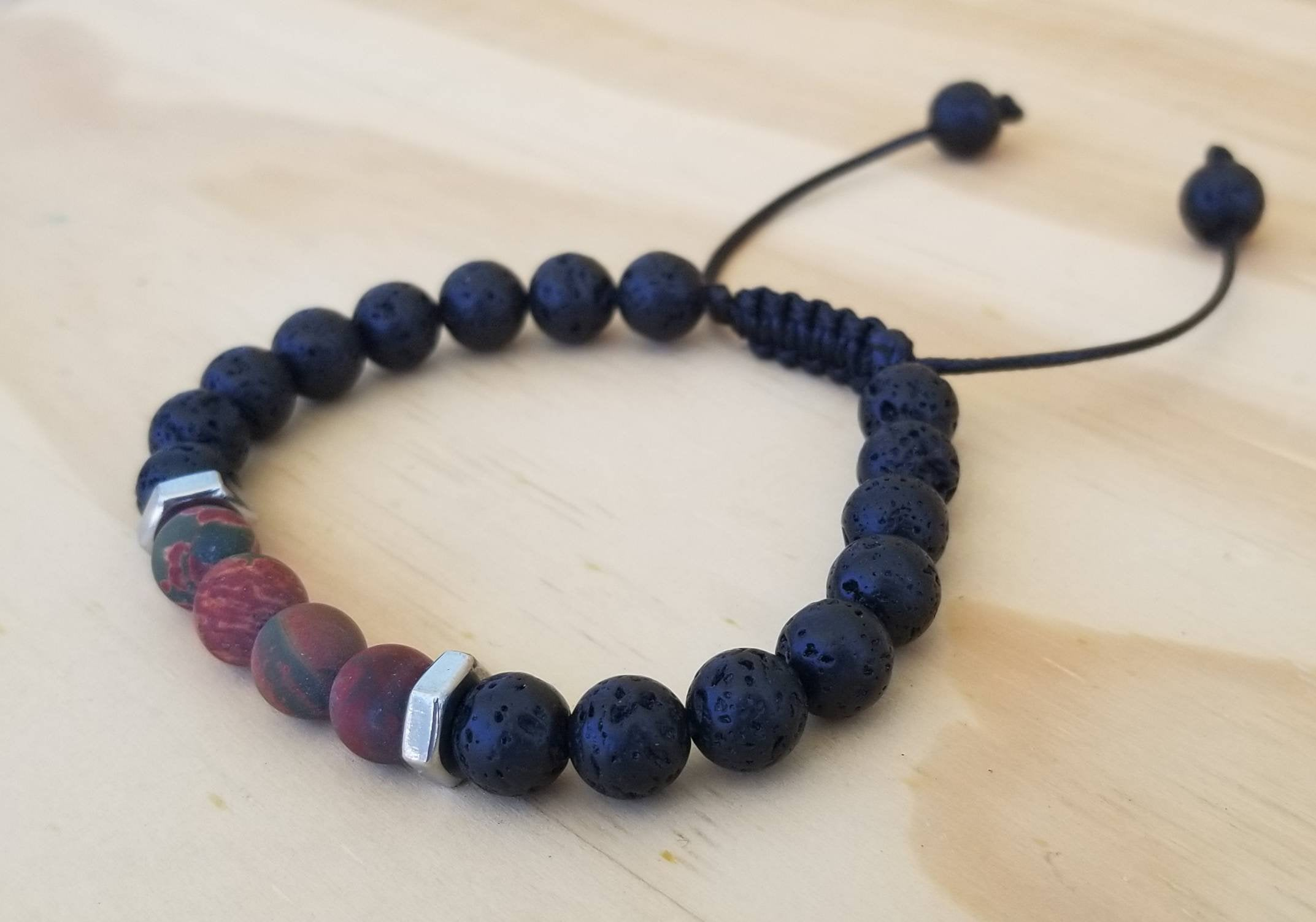 Volcanic Lava with Picasso Jasper beaded men bracelet - BurzanDesign