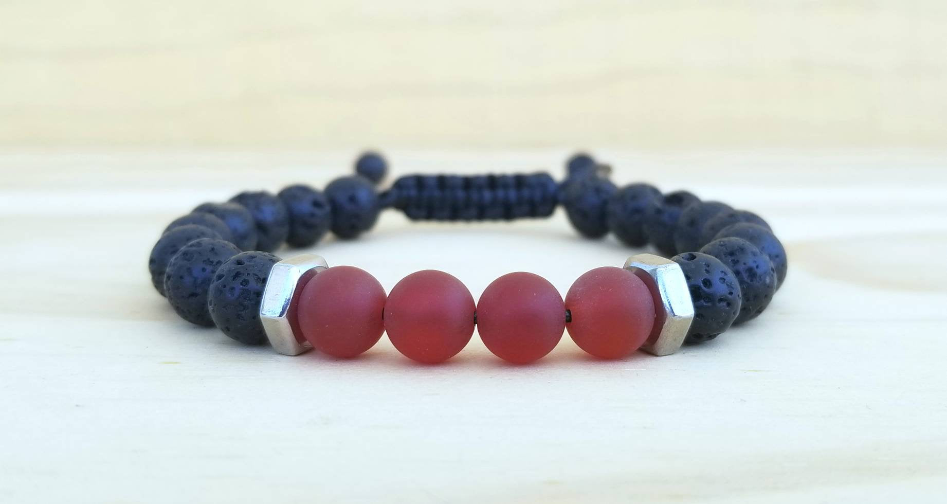 Volcanic Lava with matte Red Agate beaded men bracelet - BurzanDesign