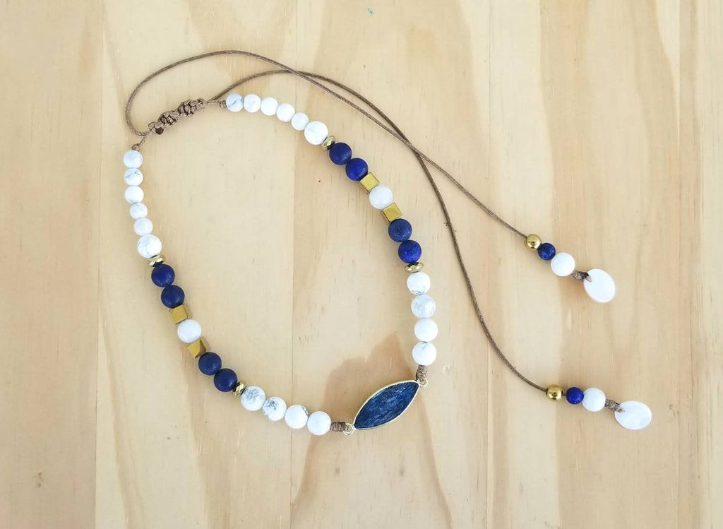 Blue & White bohemian beaded choker necklace - BurzanDesign
