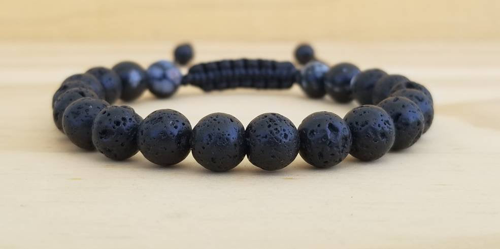 Volcanic lava with Snowflake Obsidian beaded men bracelet - BurzanDesign