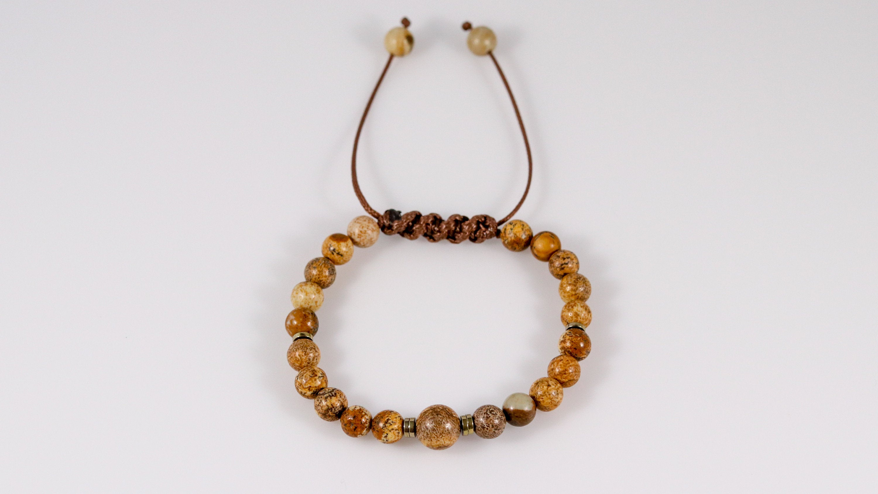 Polished Picture Jasper beaded female bracelet - BurzanDesign