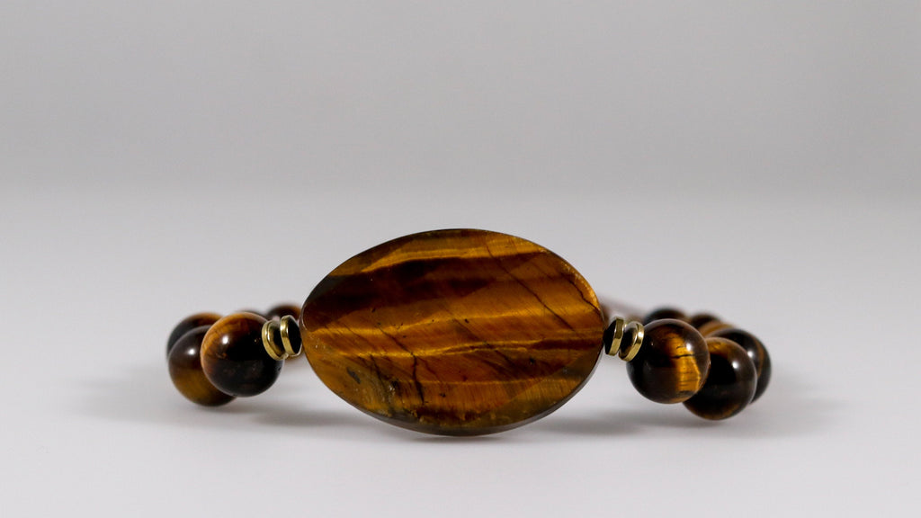 Polished Tiger's eye statement beaded bracelet - BurzanDesign