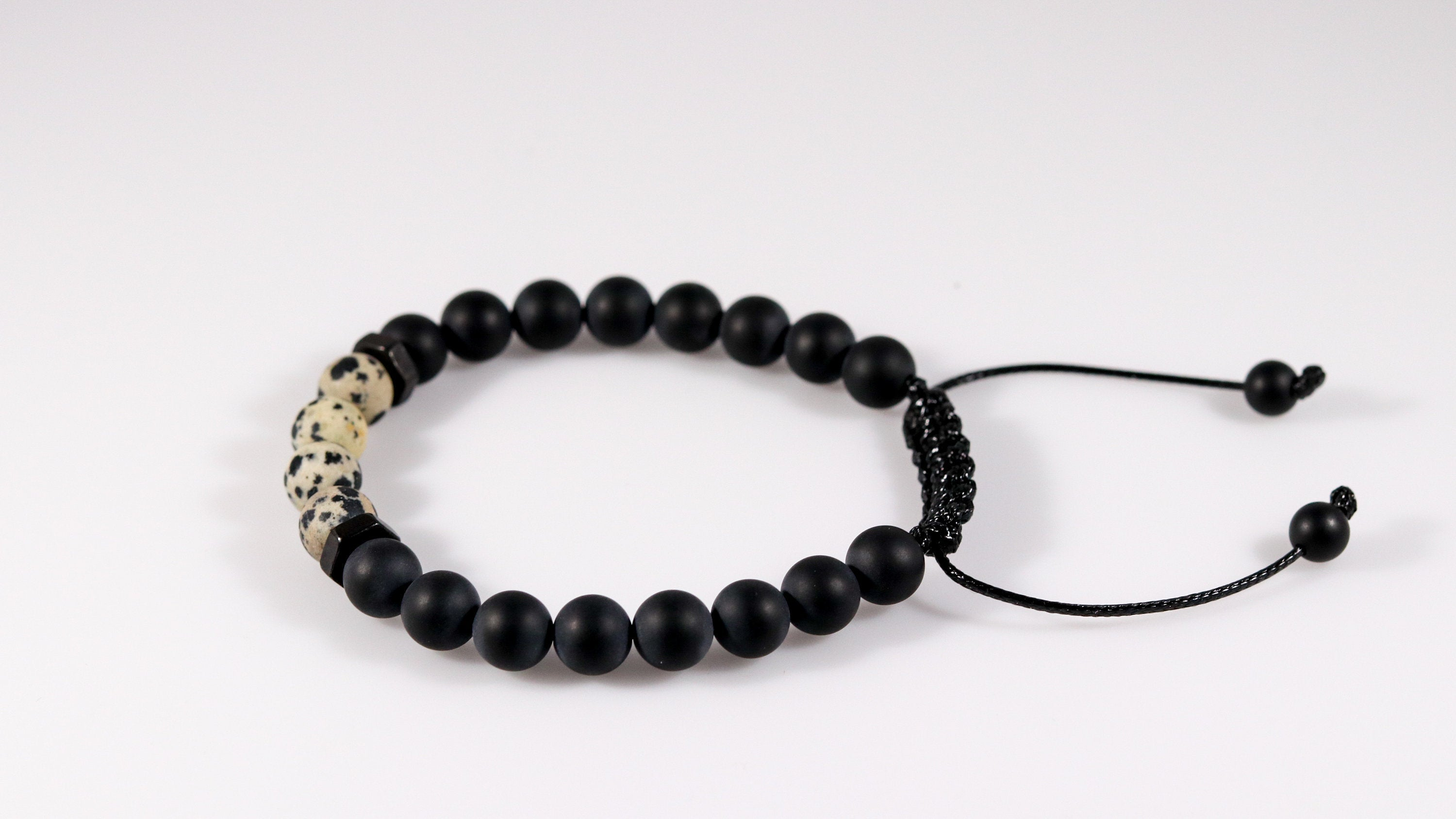 Onyx with Dalmatian Jasper men bracelet - BurzanDesign