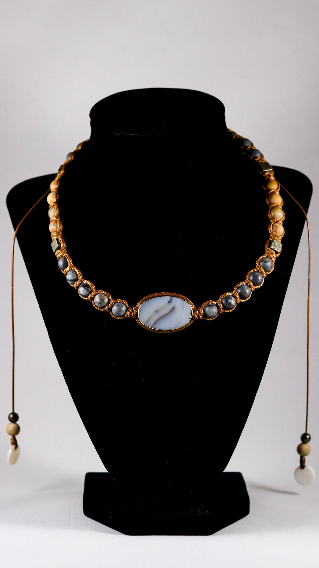 Agate with Black Picasso Jasper and Pyrite macrame necklace - BurzanDesign
