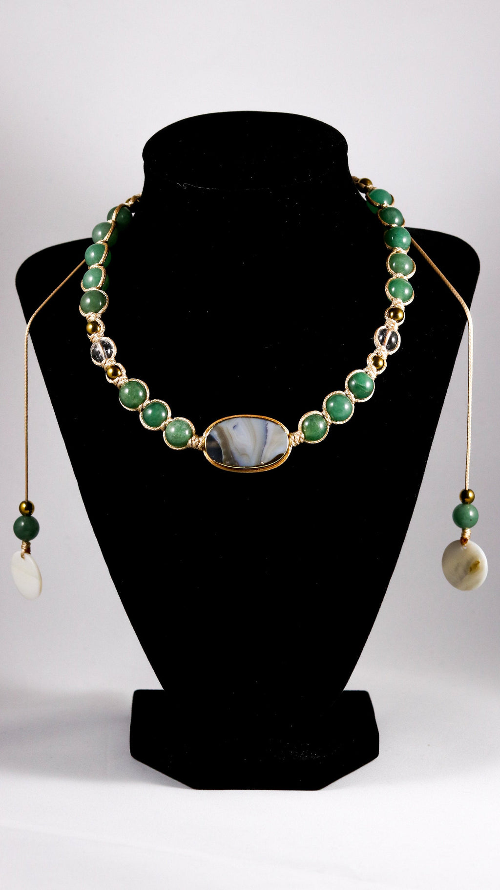 Oval Agate with Green Aventurine, Quartz and Hematite macrame necklace - BurzanDesign