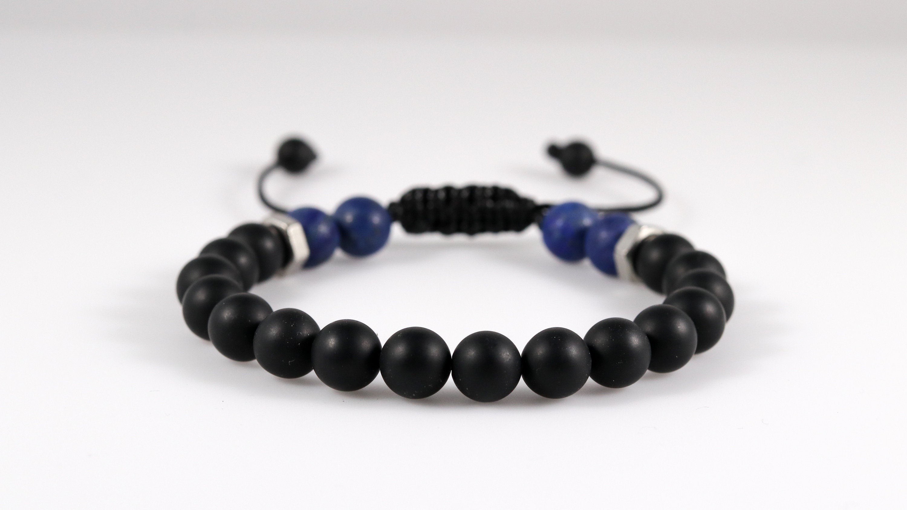 Onyx with Lapis Lazuli matte beaded men bracelet - BurzanDesign