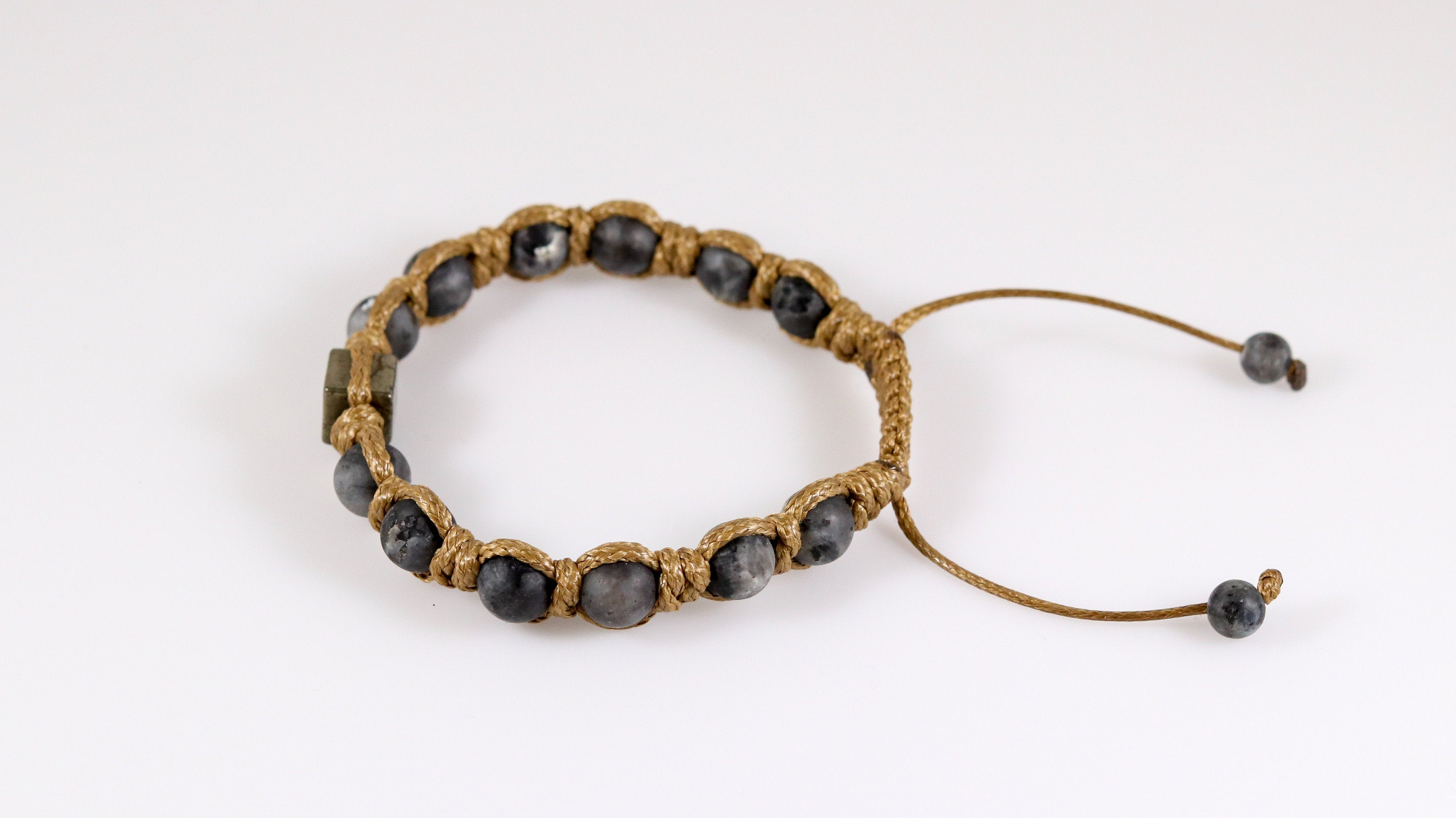 Black Moonstone with Pyrite cube macrame men bracelet - BurzanDesign