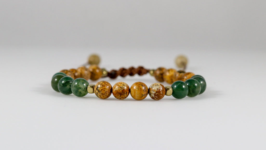 Picture Jasper with Green Moss Agate beaded female bracelet - BurzanDesign