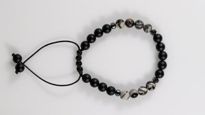 Onyx with Spider Web Jasper beaded female bracelet - BurzanDesign
