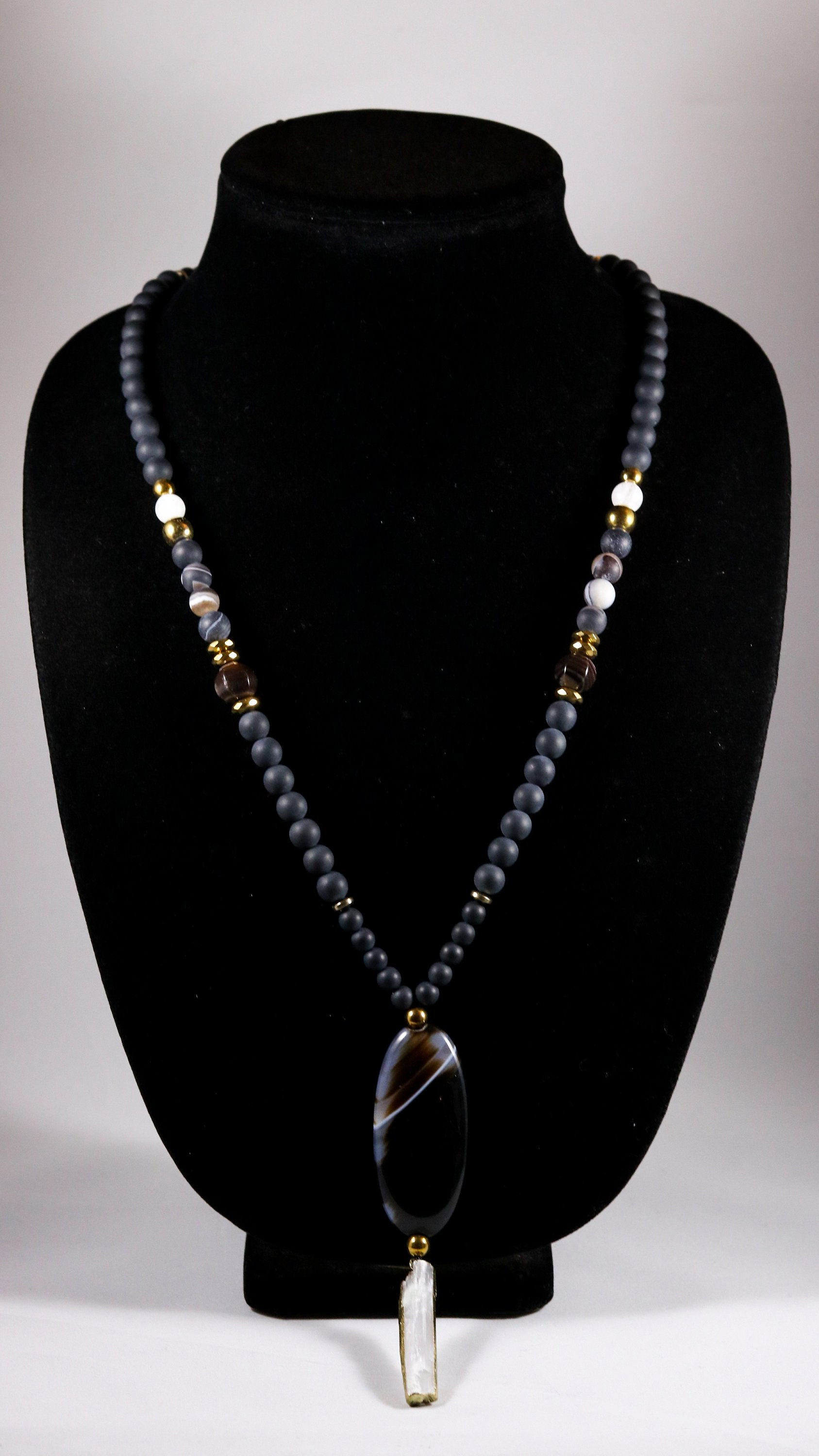 Black and Brown Stripe Agate and Selenite long beaded necklace - BurzanDesign