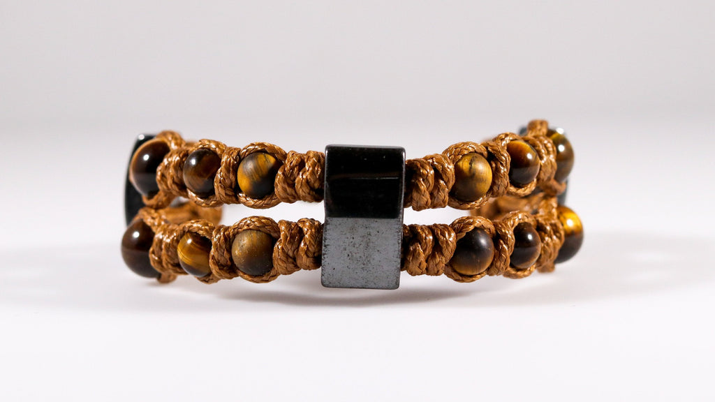 Double macrame bracelet with Tiger's eye and magnetic Hematite - BurzanDesign