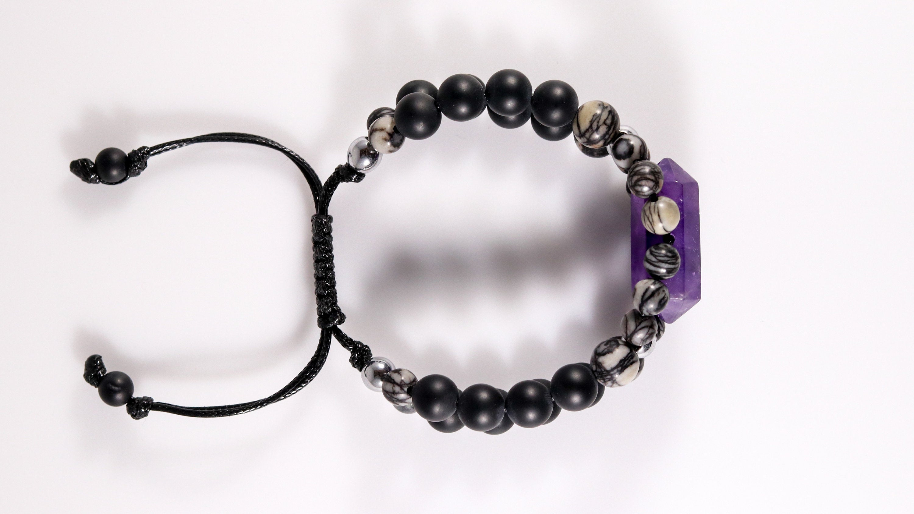 Double pointed Amethyst beaded statement bracelet with Onyx and Spiderweb Jasper - BurzanDesign