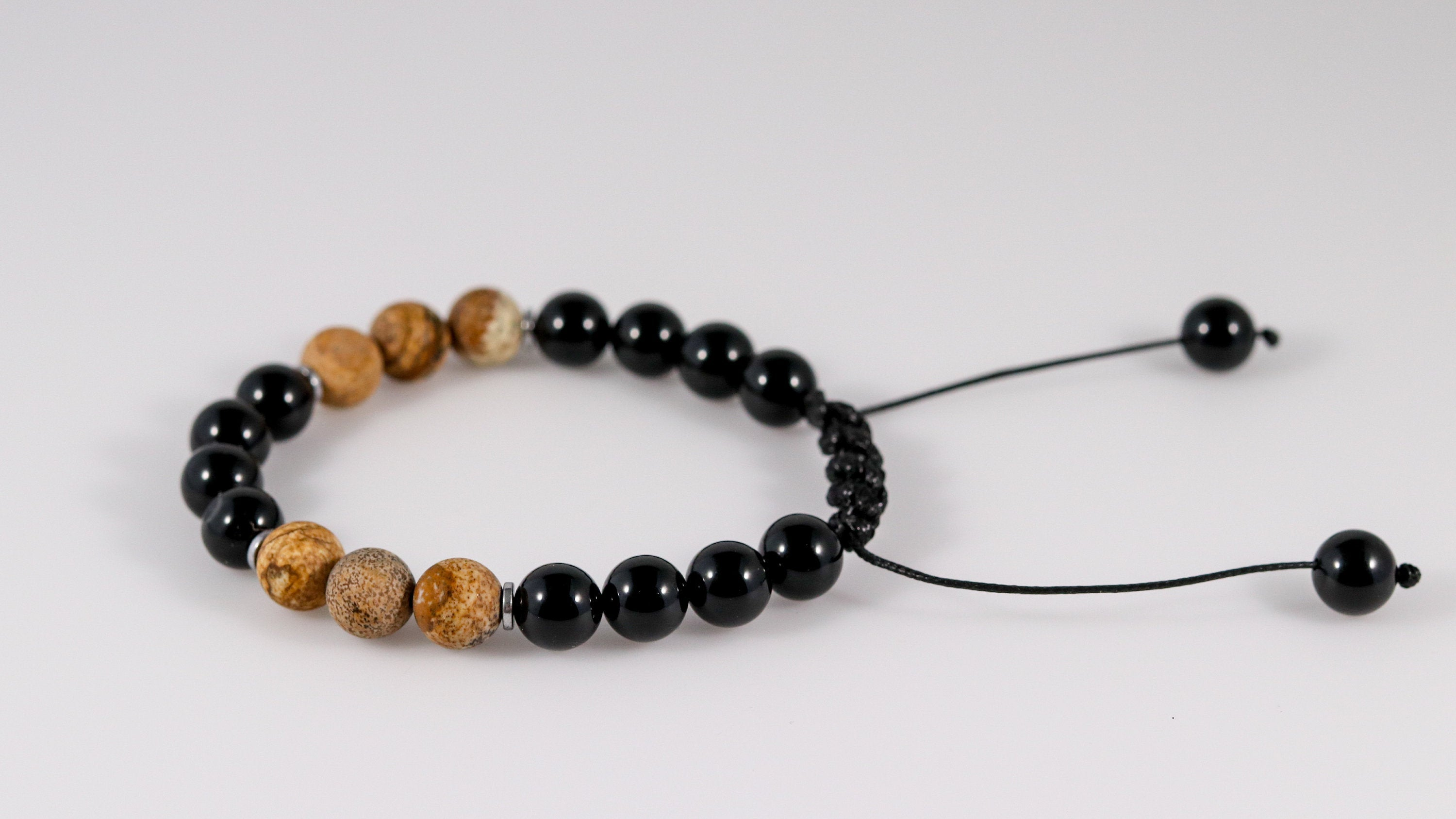 Polished Onyx with matte Picture Jasper beaded bracelet - BurzanDesign