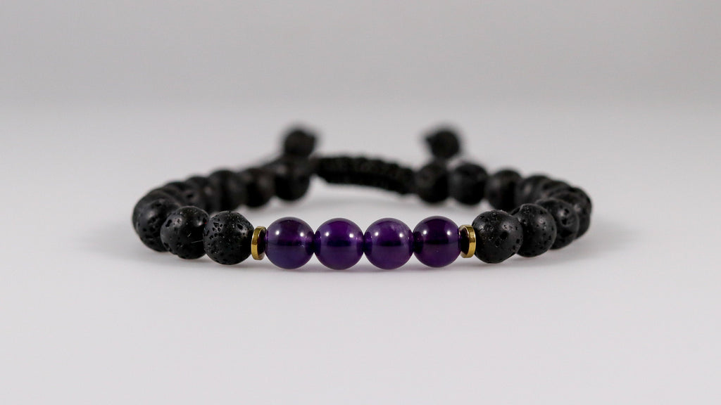 Small Volcanic Lava with Amethyst beaded  bracelet - BurzanDesign