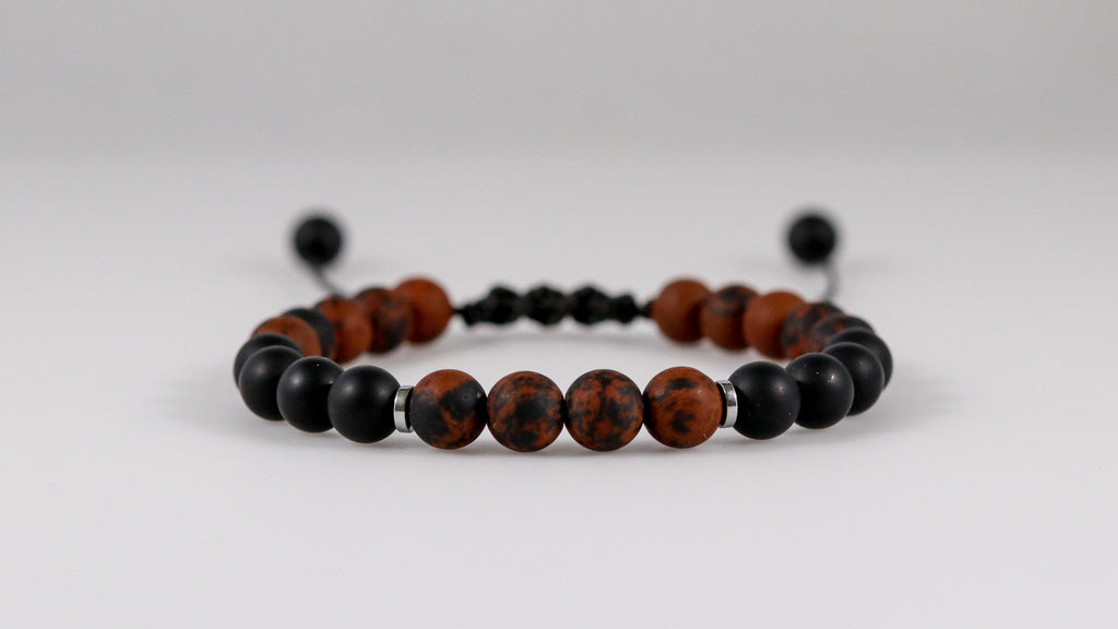 Small Mahogany Obsidian with Onyx matte beaded bracelet - BurzanDesign