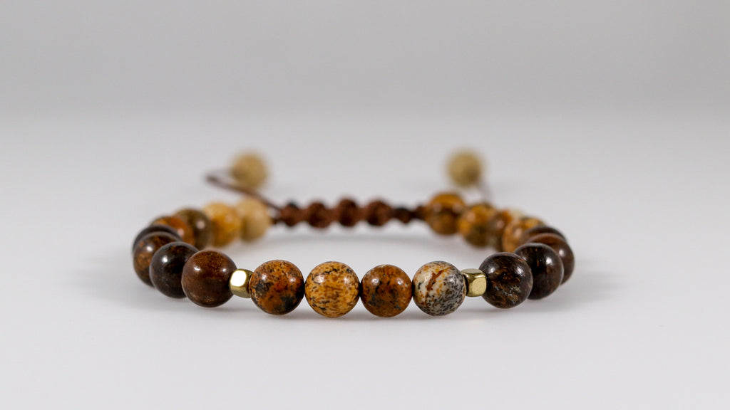 Small Picture Jasper with Bronzite Jasper beaded bracelet - BurzanDesign