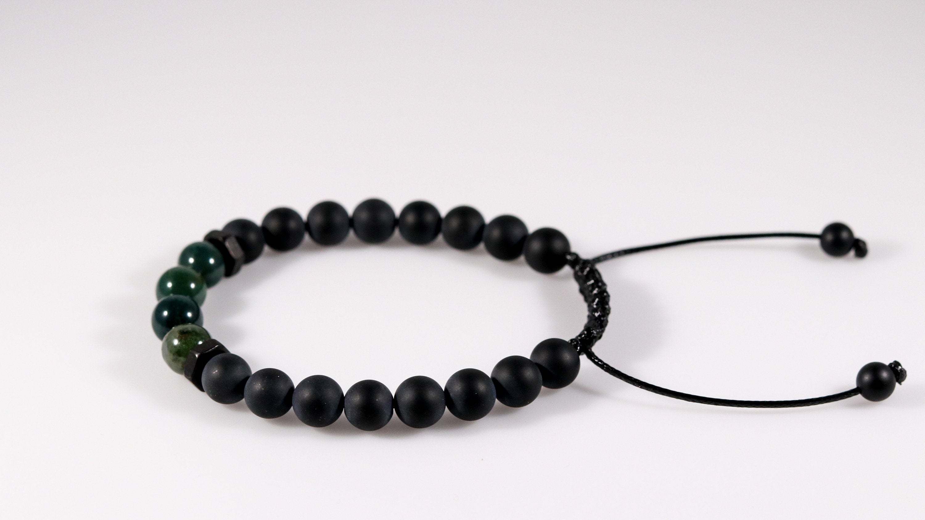 Onyx with Green Moss Agate beaded bracelet - BurzanDesign