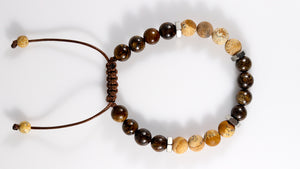 Bronzite Jasper and Picture Jasper natural stone men bracelet - BurzanDesign
