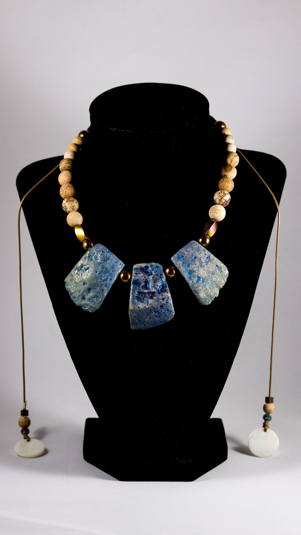 Titanium Agate slabs  with Picture Jasper and Hematite beaded necklace - BurzanDesign