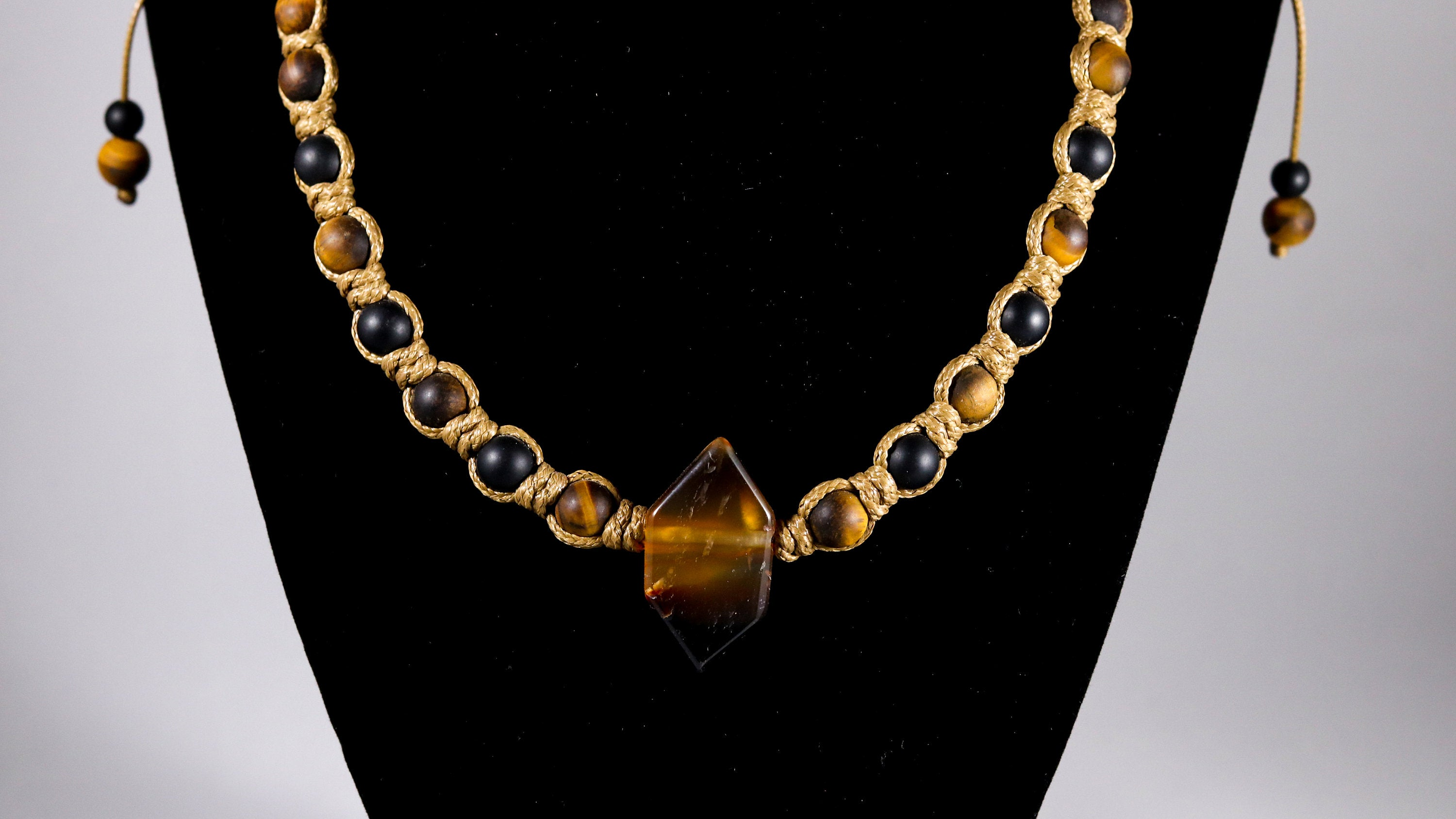 Brown Agate double point with matte Onyx and Tigers Eye macrame necklace - BurzanDesign
