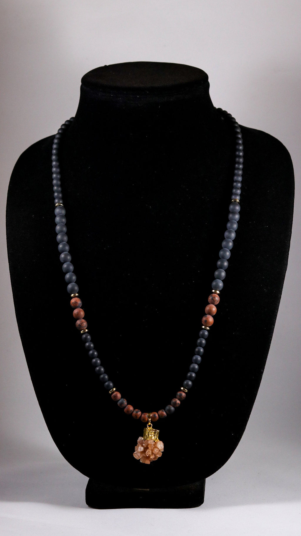Raw Aragonite with Mahogany Obsidian/Onyx and Hematite beaded necklace - BurzanDesign