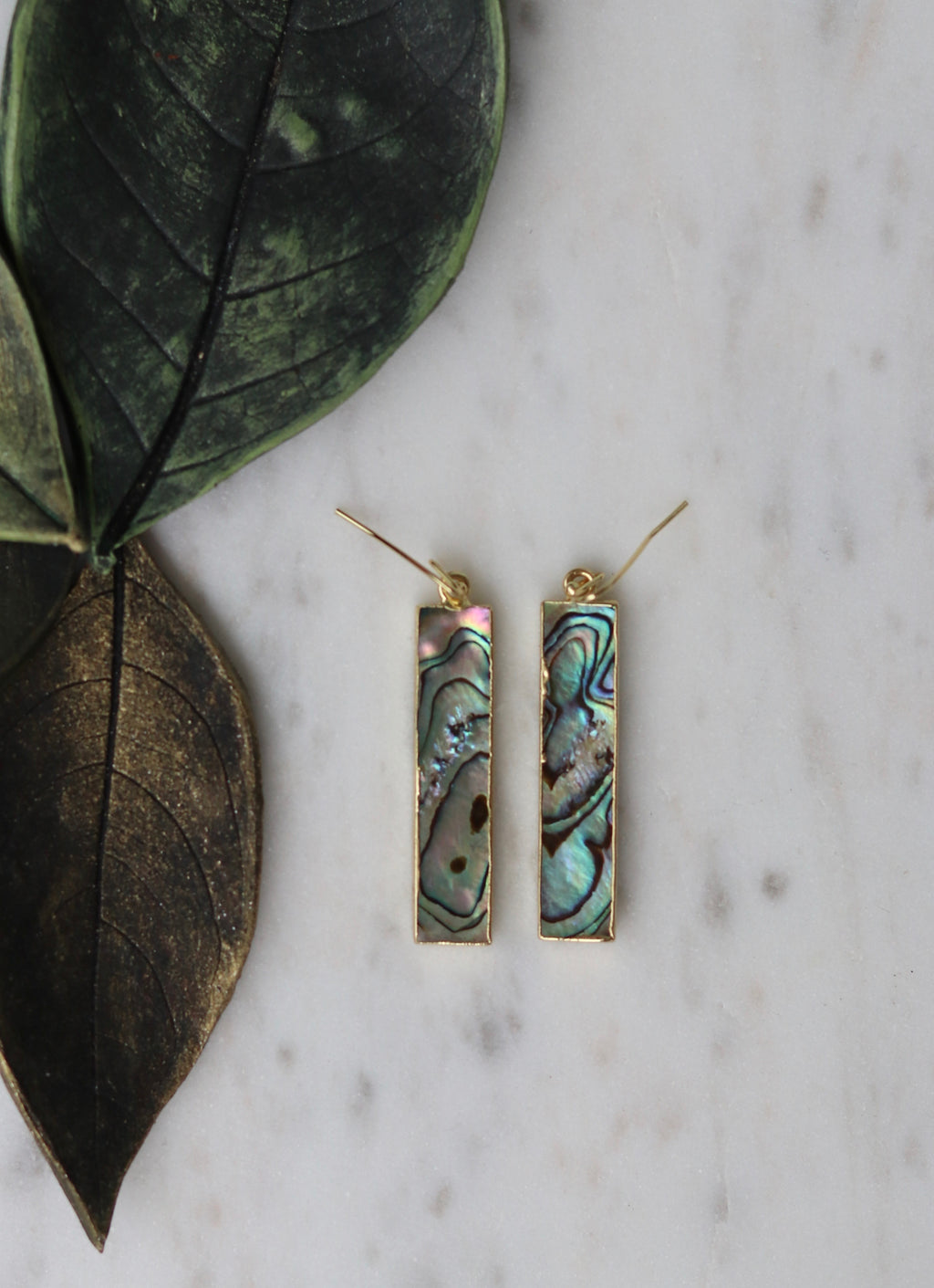 Abalone shell rectangular earrings - BurzanDesign