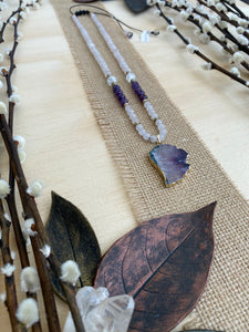 Amethyst wing slice long beaded necklace with Rose Quartz, Crystal Quartz and Hematite - BurzanDesign