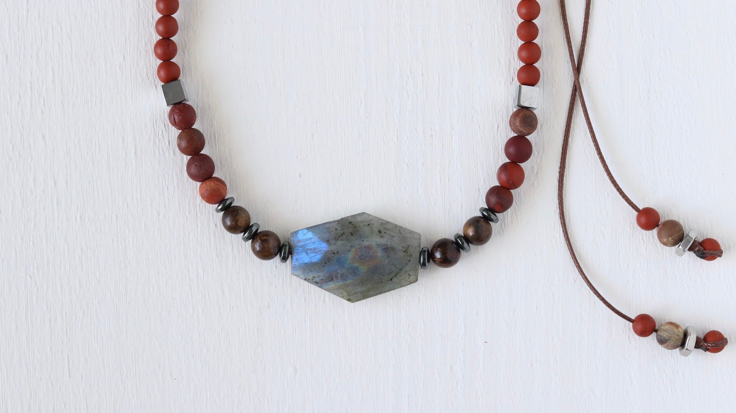 Flashy Labradorite beaded necklace with Jasper and Hematite - BurzanDesign