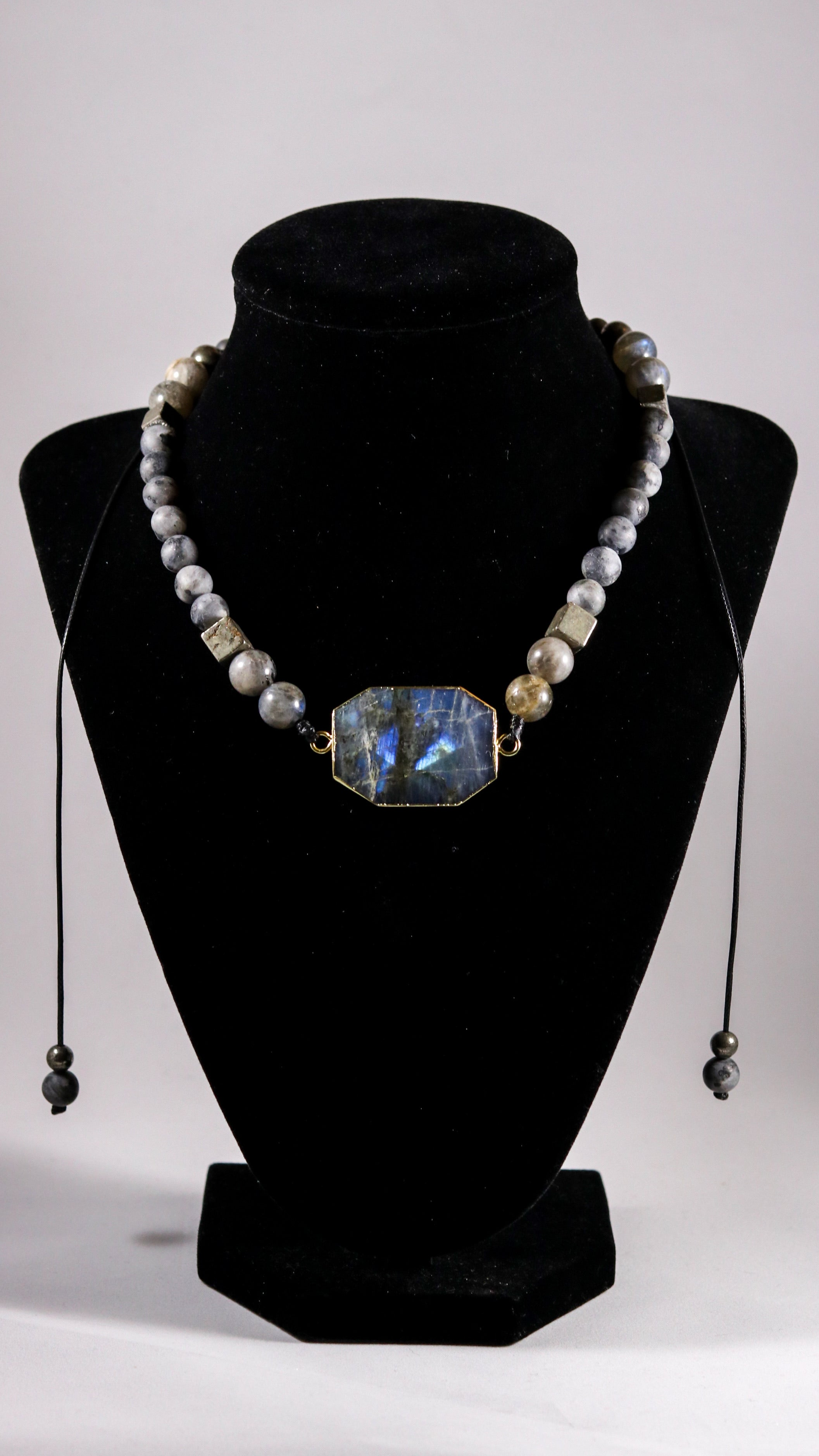 Flashy Labradorite beaded necklace with Black Moonstone/ Labradorite and Pyrite - BurzanDesign