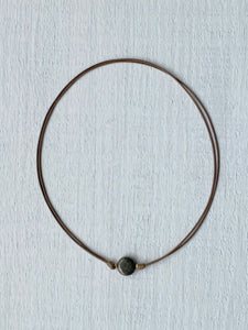 String choker single stone Pyrite - BurzanDesign