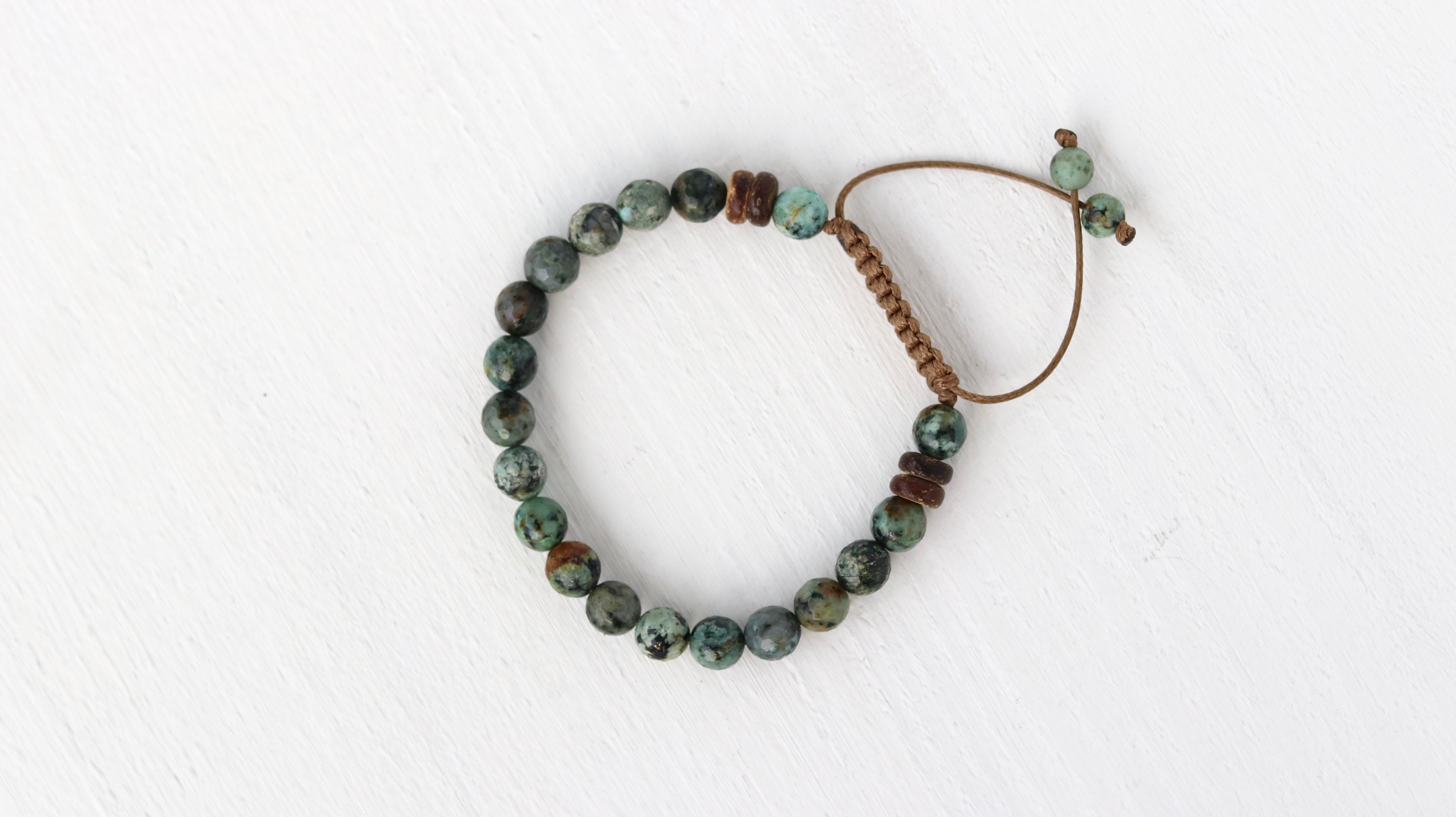 African Turquoise beaded men bracelet/ faceted/