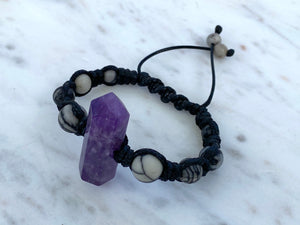 Double terminated Amethyst statement macrame bracelet with Spiderweb Jasper/black cord/