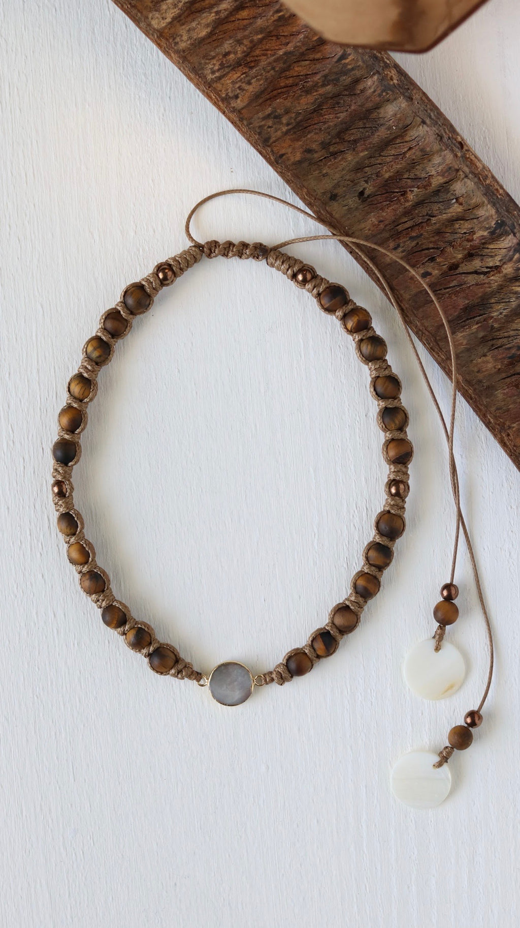 24k gold plated Fresh water pearl with Tiger's Eye macrame necklace - BurzanDesign