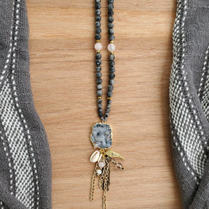 Druzy Chalcedony long beaded necklace with Black Moonstone, Rose Quartz and Hematite - BurzanDesign