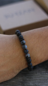 Volcanic lava with matte Black Moonstone beaded men bracelet - BurzanDesign