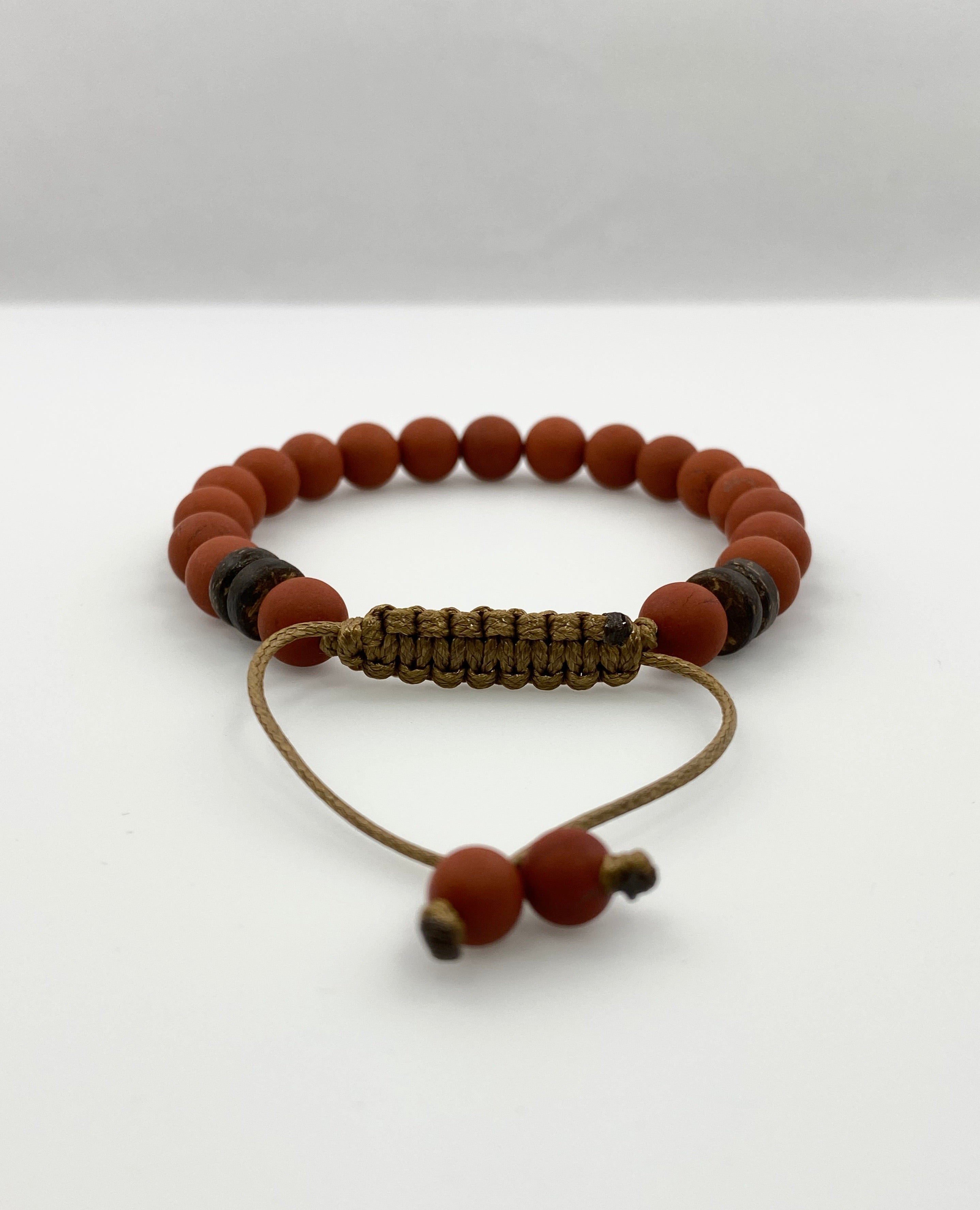 Red matte Jasper men bracelet - BurzanDesign