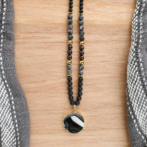 Round black Agate long beaded necklace/ Onyx/ Red Garnet/ Black Moonstone/ Lava/ Hematite - BurzanDesign