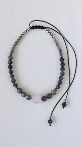 Rose Quartz sphere with Labradorite and black Moonstone beaded necklace