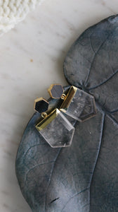 Labradorite w Crystal Quartz 24k gold plated earrings