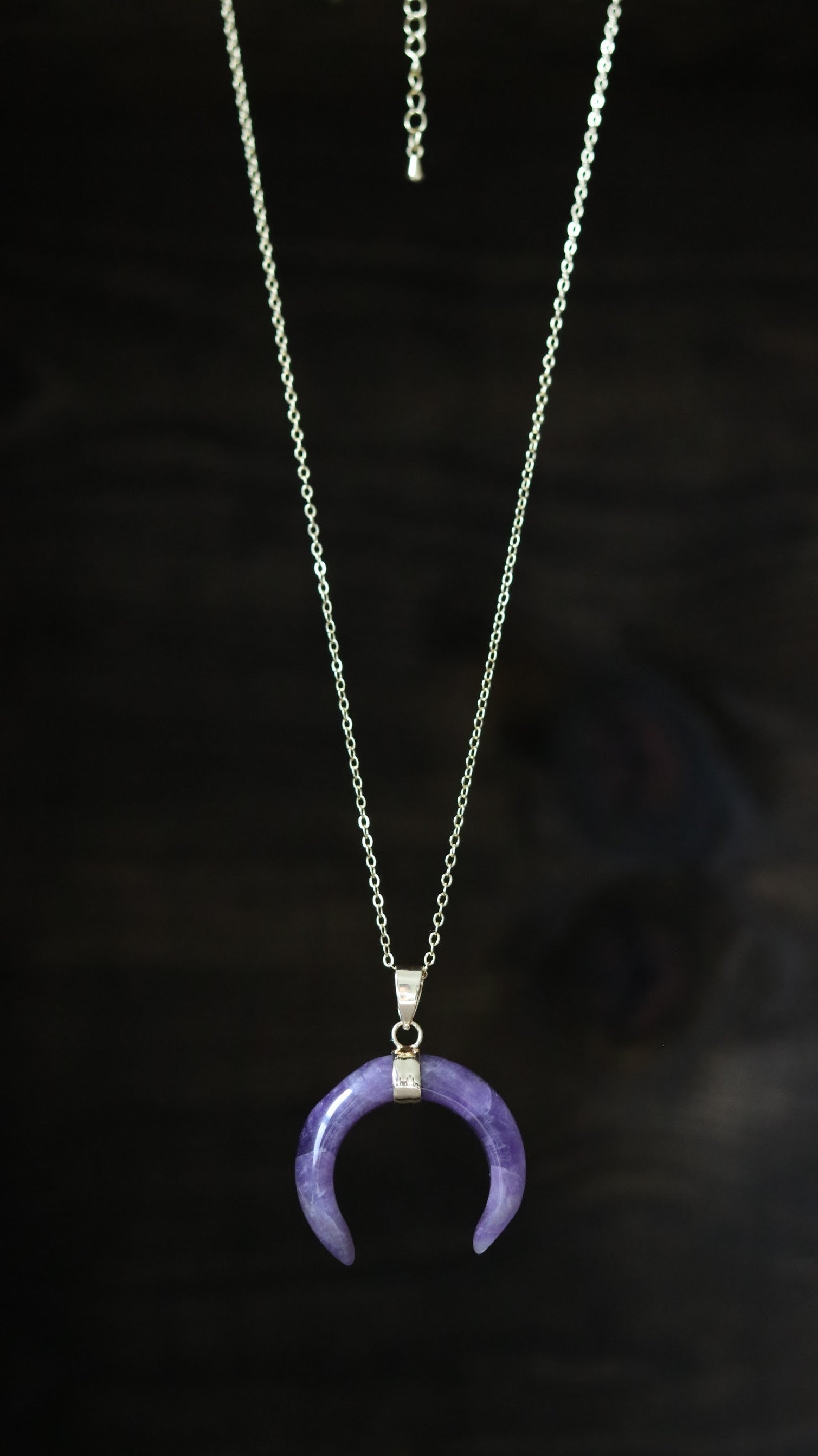 Amethyst moon shape gold plated necklace