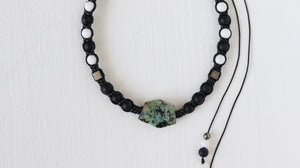 African turquoise macrame necklace with Onyx, Alabaster and Pyrite - BurzanDesign