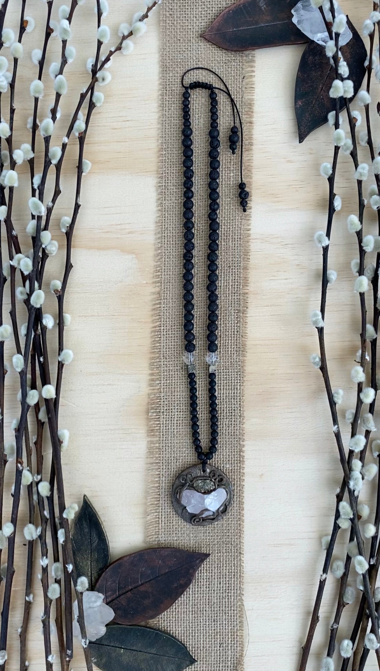 Polymer clay raw Crystal pendant long beaded necklace with Onyx, Lava, Crystal Quartz and Pyrite - BurzanDesign