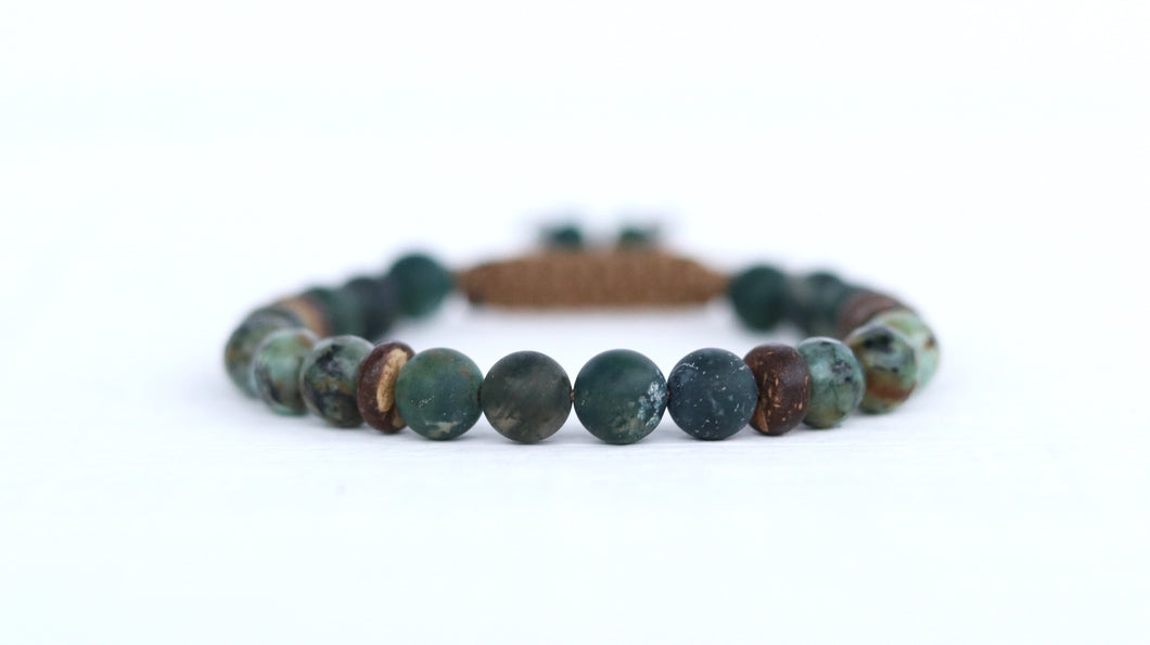 Moss Agate & African Turquoise men beaded bracelet design